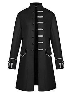 cheap Steampunk-Plague Doctor Steampunk Gothic Style Retro / Vintage Punk Stand Collar Costume Men's Coat Red / Green / Blue Vintage Cosplay Polyster Party Long Sleeve Stand