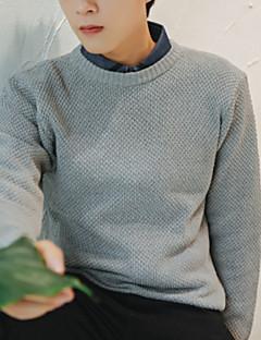 baratos Suéteres & Cardigans Masculinos-Homens Diário Básico Sólido Manga Longa Padrão Pulôver Cinzento Escuro / Cinza Claro M / L / XL