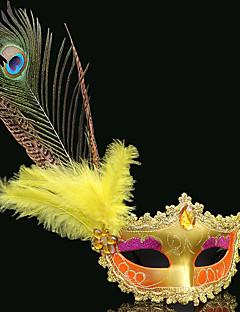 baratos Máscaras-Máscara Venetian / Máscara de pena / Meia Máscara Sensual Red + Golden / Rosa + Glod / Rosa + prata Plásticos / Pena Festa Acessórios para Cosplay Dia Das Bruxas / Carnaval / Baile de Máscaras