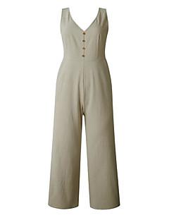 tanie Kombinezony damskie-Damskie Codzienny Biały Czarny Khaki Kombinezon, Solidne kolory Frędzel M L XL Bez rękawów