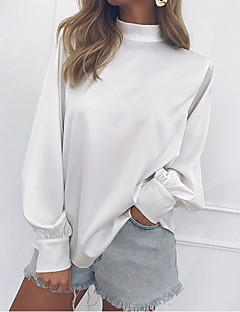 cheap AW 19 Trends-Women's Basic Cotton Slim Blouse - Solid Colored Ruffle / Vintage Style / Fashion Crew Neck / Spring / Summer / Fall / Winter