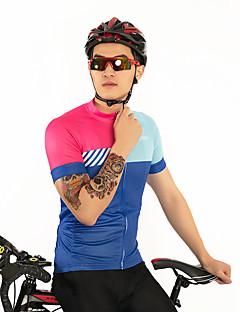 billige Sykkeljerseys-FirtySnow Herre Kortermet Sykkeljersey - Blå+Rosa Ensfarget Stribe Sykkel Jersey, Pustende Fort Tørring Polyester / Elastisk