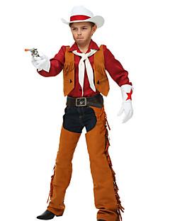 billige Barnekostymer-West West Cowboy Cowboy Kostymer Gutt Barne Drakter Aktiv Jul Halloween Karneval Festival / høytid Polyester Drakter kaffe Dusk