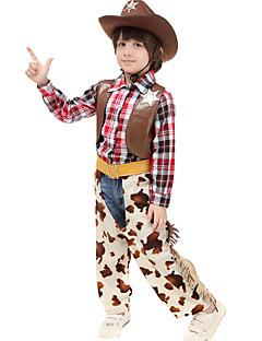 billige Barnekostymer-West West Cowboy Cowboy Kostymer Gutt Barne Drakter Aktiv Jul Halloween Karneval Festival / høytid Lær Bomull Drakter kaffe Pledd / Tern