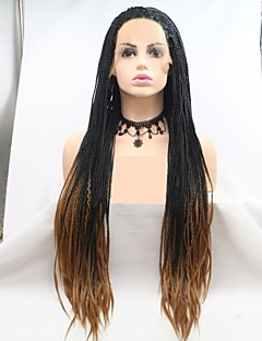 cheap New Arrivals-Synthetic Lace Front Wig / Dreadlocks / Faux Locs Women's Plaited Black Layered Haircut / Braid 130% Density Synthetic Hair 24 inch Women / Plait Hair Black / Brown Wig Long Lace Front Black / Brown