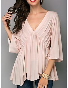 billige Bluse-kvinders plus-størrelse bluse - solid farvet v-hals