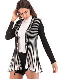 baratos Suéteres de Mulher-Mulheres Diário Sólido Manga Longa Padrão Carregam Preto M / L / XL