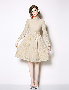 cheap Special Occasion Dresses-A-Line High Neck Knee Length Lace Dress with Tier / Lace Insert by LAN TING Express