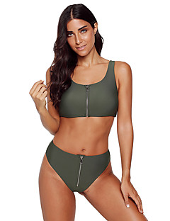 billige Bikinier og damemote-Dame Sporty / Grunnleggende Hvit Oransje Gul Cheeky Bikinikjole Badetøy - Ensfarget M L XL
