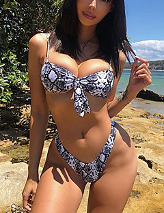 billige Bikinier og damemote-Dame Svart Cheeky Bikinikjole Badetøy - Geometrisk / Leopard S M L
