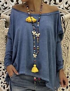 Χαμηλού Κόστους Γυναικείες Μπλούζες-γυναικεία ασιατική t-shirt - συμπαγές  στρογγυλό λαιμό 0837b908333