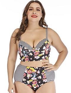 8a6fc4b4bef Women s Plus Size Basic Gray Cheeky Bikini Swimwear - Striped Floral Print  XXL XXXL XXXXL Gray