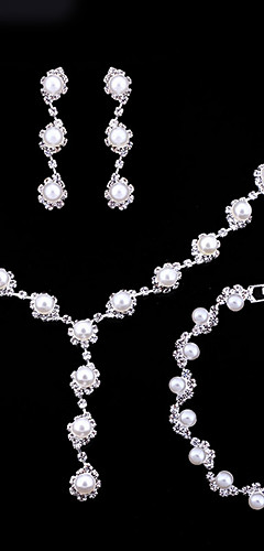 cheap -Women's Crystal Pearl Jewelry Set Dainty, Ladies, Simple, Fashion Include Bracelet Pearl Necklace White For Wedding Party Engagement Gift Engagement Party Bridal Shower