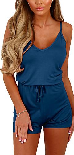 billige -Dame I-byen-tøj / Weekend Med stropper Grå Vin Marineblå Sparkedragter M L XL Højtaljede Uden ærmer Sommer