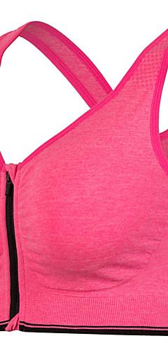 abordables -Zip frontal Soutien-Gorges de Sport Non Soutien Moyen pour Yoga Course / Running Vert Bleu Rose Respirable Anti-Shake Zip frontal Femme / Haute élasticité