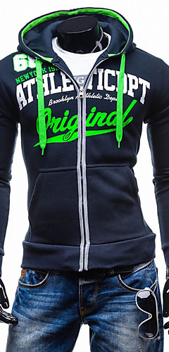 3a14d769abfa Men s Sports Active Long Sleeve Hoodie Jacket - Letter Hooded Navy Blue L    Spring   Fall   Winter