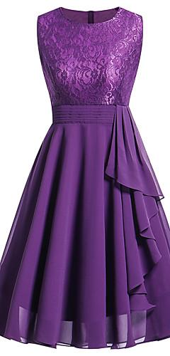 זול -עד הברך תחרה קפלים, אחיד - שמלה נדן שיפון רזה מתוחכם חגים ליציאה בגדי ריקוד נשים