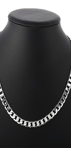 cheap -Men's Cuban Link Chain Necklace Silver Plated Simple Basic Fashion Cool Silver 50 cm Necklace Jewelry 1pc For Daily Street