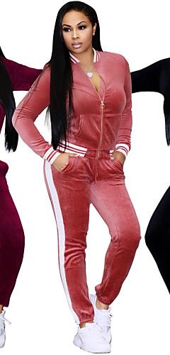 abordables -Femme Survêtement Des sports Rayure Velours Pantalon de Survêtement Veste de Survêtement Ensembles de Sport Yoga Course / Running Fitness Manches Longues Tenues de Sport Chaud Respirable Doux