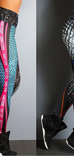 abordables -Femme Pantalon de yoga Des sports Imprimé Spandex Taille Haute Collants Leggings Zumba Danse Course / Running Tenues de Sport Respirable Compression Push Up Power Flex Elastique Slim