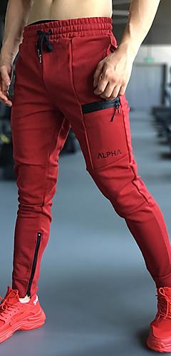 abordables -Homme Cordon Pantalon Jogger Pantalons de Course Running Des sports Couleur unie Coton Spandex Collants Bas Fitness Entraînement de gym Tenues de Sport Doux Compression Power Flex Stretch 4 voies
