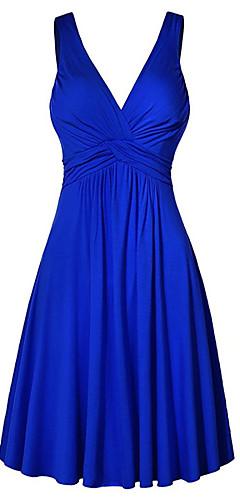 זול -צווארון V מותניים גבוהים מיני אחיד - שמלה ישרה מידות גדולות בסיסי בגדי ריקוד נשים