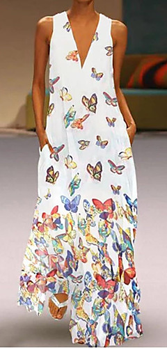 זול -צווארון V מקסי חיה - שמלה גזרת A רזה מידות גדולות בוהו חוף בגדי ריקוד נשים