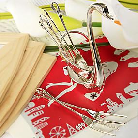 billige Praktiske gaver-6 stk. Forgylt stålfruktgaffel satt i svaneholderens bryllupsfavorier