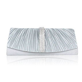 billige Salg-Dame Krystall / Rhinstein Satin Aftenveske Rhinestone Crystal Evening Bags Svart / Hvit / Sølv