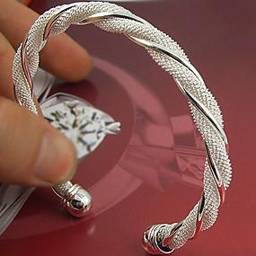 abordables Bijoux de Mariage-Manchettes Bracelets Femme Argent sterling dames Manchette Bracelet Bijoux Argent pour Mariage Soirée Occasion spéciale Anniversaire Fiançailles Cadeau