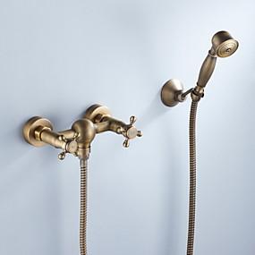 povoljno 80% SNIŽENO-Slavina za tuš - Umjetnička / Retro Antique Brass Montiranje unutra Keramičke ventila Bath Shower Mixer Taps / Dvije ručke tri rupe