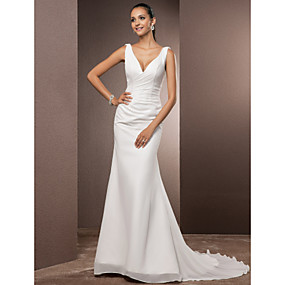 cheap Weddings & Events-Sheath / Column V Neck Court Train Chiffon Over Satin Made-To-Measure Wedding Dresses with Side-Draped by LAN TING BRIDE® / Open Back / Open Back
