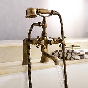 voordelige Vintage kranen-Douchekraan / Badkraan - Antiek Antiek Koper Bad en douche Keramische ventiel Bath Shower Mixer Taps