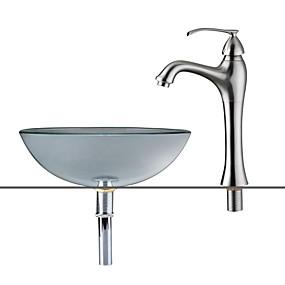 hesapli Çanak Lavabolar-Banyo Lavabosu / Banyo Musluğu / Banyo Montaj Halkaları Çağdaş - Temperli Cam Yuvarlak Vessel Sink