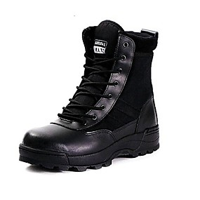 cheap Men's Boots-Men's Comfort Shoes Leather Fall / Winter Sporty Boots 10.16-15.24 cm / Booties / Ankle Boots Black / Khaki / Outdoor / Lace-up / Outdoor / Combat Boots