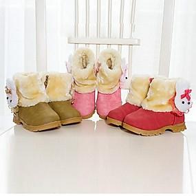 billige Mote Boots-Jente Semsket fuskelær Støvler Små barn (4-7år) Komfort Rød / Rosa / Brun Vinter / Ankelstøvler / Gummi