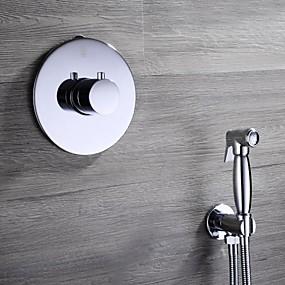 hesapli Klozet Muslukları-Banyo Lavabo Bataryası - Kendini Temizleyen Krom El Tipi Bide Spreyi Çift Delik / Tek Kolu İki DelikBath Taps