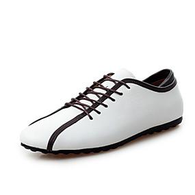 baratos Sapatilhas e Mocassins Masculinos-Homens sapatos Couro Primavera Outono Combinação Cadarço para Atlético Casual Ao ar livre Branco Azul Escuro Amarelo