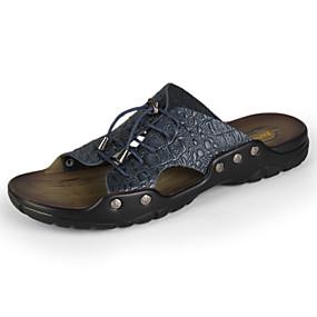 baratos Sandálias e Chinelos Masculinos-Homens Sapatos Confortáveis Couro Primavera / Verão / Outono Sandálias Preto / Amarelo / Marron / Tachas