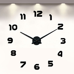 cheap DIY Wall Clocks-Frameless DIY Wall Clock, 3D Wall Clock Large Mute Wall Stickers for Living Room Bedroom Home Decorations (Black)