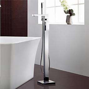 cheap Bathtub Faucets-Bathtub Faucet - Contemporary Chrome Floor Mounted Ceramic Valve Bath Shower Mixer Taps / Single Handle One Hole