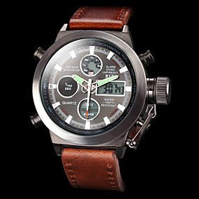 cheap -70%-Men's Wrist Watch Digital Watch Japanese Leather Brown 50 m Water Resistant / Waterproof Alarm Calendar / date / day Analog - Digital Luxury - White Black Two Years Battery Life / Stainless Steel