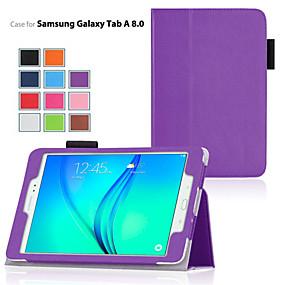 billige Telefoner og tilbehør-Etui Til Samsung Galaxy / Tab En 8,0 / Tab A 9.7 med stativ / Flipp Heldekkende etui Ensfarget PU Leather