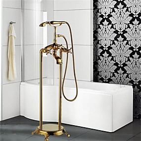 billige bad Series-Badekarskran - Art Deco / Retro Ti-PVD Gulvmontert Keramisk Ventil Bath Shower Mixer Taps / Tre Håndtak Et Hull