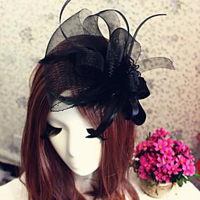 baratos Tiaras-Tule Headbands / Fascinadores / Flores com 1 Casamento / Ocasião Especial / Ao ar livre Capacete / Chapéus