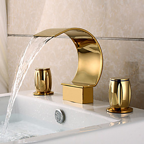 cheap Bathroom Sink Faucets-Bathroom Sink Faucet - Waterfall Ti-PVD Widespread Three Holes / Two Handles Three HolesBath Taps / Brass