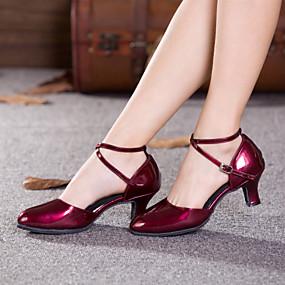 저렴한 신발 & 가방-여성용 에나멜 가죽 모던 슈즈 버클 / 할로우 힐 큐반 힐 주문제작 불가능 레드 / 실버 / 골드 / 실내 / 성능 / 연습용 / 전문가용 / EU42