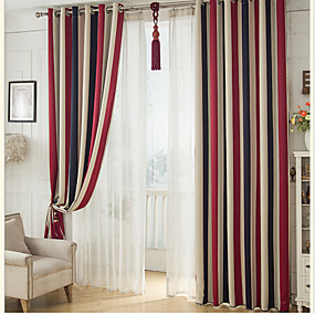 cheap Curtains & Drapes-Blackout Curtains Drapes Bedroom Stripe Polyester Print & Jacquard