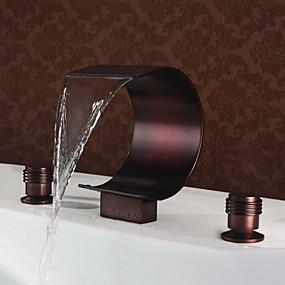 저렴한 특별 할인 및 프로모션-욕실 싱크 수도꼭지 - 워터팔 오일럽된 브론즈 데크 마운티드 두 핸들 세 개의 구멍Bath Taps / 황동