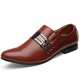 저렴한 남성용 옥스포드-ador® 남성용 드레스 신발 인조 가죽 봄 / 가을 비즈니스 / comfort oxfords 미끄럼 방지 흰색 / 검정 / 갈색 / 결혼식